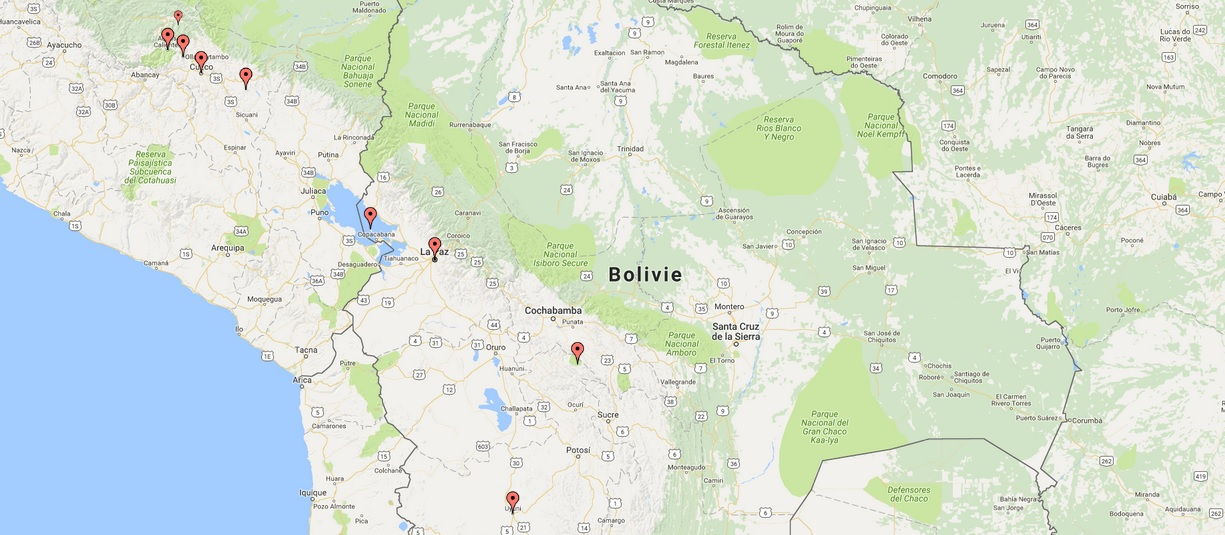 Carte Road trip Perou bolivie